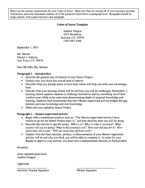 Letter of Intent Template - sonomavalleyhighorg
