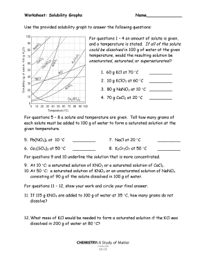 Fillable Online Worksheet Solubility Graphs Name - MARRIC Fax Email ...