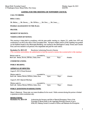 Fillable Online Mount Holly Township Council Fax Email