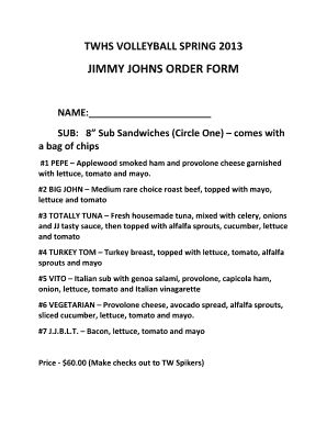 jimmy johns order form  Fillable Online JIMMY JOHNS ORDER FORM - Jersey Watch Fax ...