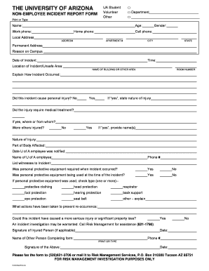 Non-employee Incident Report Form - risk arizona