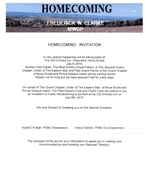 Fillable Online Idahooes Homecoming Invitation Idahooesorg Fax