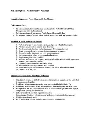 26 Printable Job Description Administrative Assistant Forms
