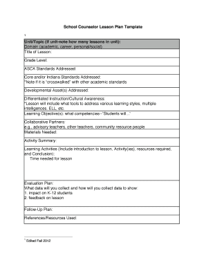 Printable Lesson Plan Template For Resource Teachers Fill Out - School counselor lesson plan template