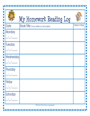 Reading log with summary forms and templates fillable printable my homework reading log deptford k12 nj maxwellsz