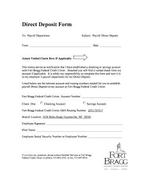Fillable Online Direct Deposit Form Fort Bragg Federal Credit