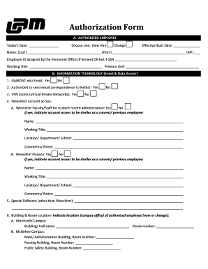 Employee Information Form Excel. AUTHORIZED EMPLOYEE
