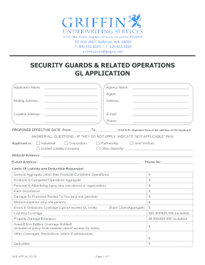 Security guard employment application template - Edit, Print