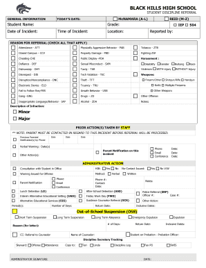 Fillable Online bhhs tumwater k12 wa Discipline Referral