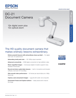 SPECIFICATION SHEET The HD quality document camera that makes ordinary lessons extraordinary