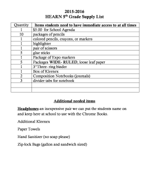 Fillable Online 2015-2016 HEARN 5th Grade Supply List Fax Email