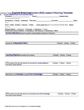 Fillable Online Sanjuan Explicit Direct Instruction Lesson Plan