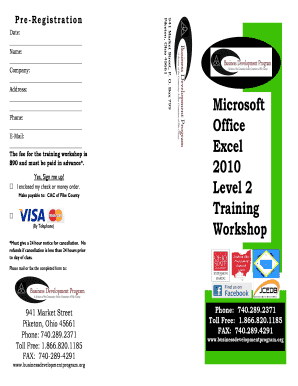 1 Microsoft Office Excel 2010 Level 2 Training Workshop