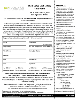 Fillable Online KGHF 5050 Staff Lottery Fax Email Print - PDFfiller