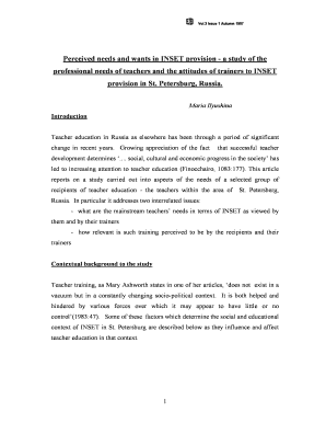 Perceived Needs And Wants In INSET Provision   A Study Of The Professional  Needs Of Teachers