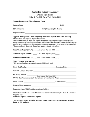 Fillable Online Burbridge Detective Agency Online Fax Form