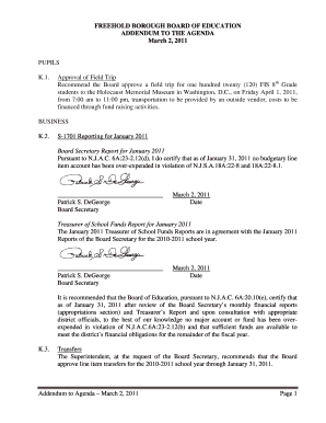 FREEHOLD BOROUGH BOARD OF EDUCATION ADDENDUM TO THE AGENDA March 2, 2011 PUPILS K - freeholdboro k12 nj