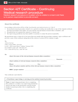Section 42T Certificate Continuing Medical research