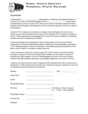 Photo Release Form Template. Rural Photo Contest   Personal Photo Release  Rural Photo Contest   Personal Photo Release  Contest Form Template