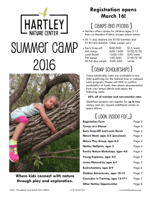 Read the 2016 Summer Camp Brochure - Hartley Nature Center