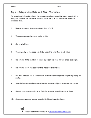 Fillable Online Topic Categorizing Data and Bias - Worksheet 1 Fax ...