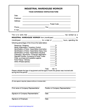 Industrial Warehourse Worker - Trade Experience Verification Form Industrial Warehourse Worker - Trade Experience Verification