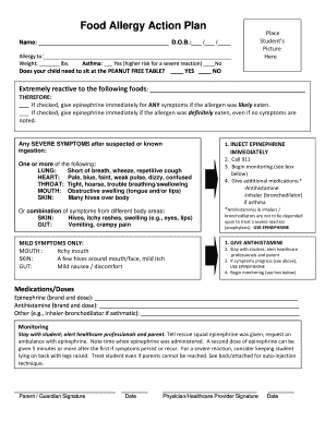 Food Allergy Form For Daycare Fill Online Printable