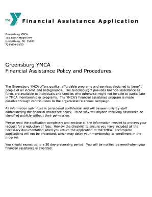 Fillable Online greensburgymca Financial Assistance Cover ...