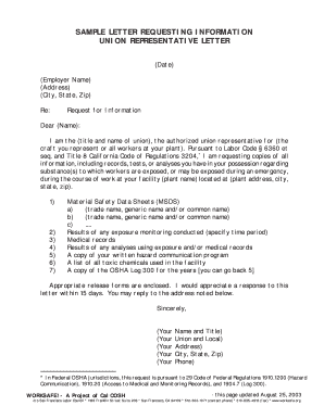 requesting information letter