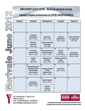 EMPLOYMENT ACCESS CENTRE Workshops and Events Calendar