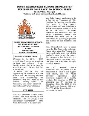 september elementary school newsletter