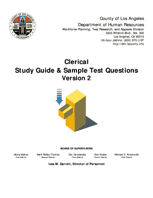 Clerical Study Guide Sample Test Questions - LAFACE