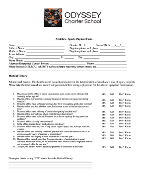 Printable sports physical form for school - Edit, Fill Out