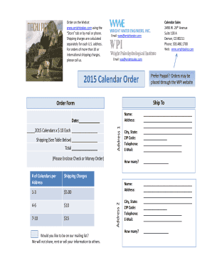 Order Form 2015 Calendar - Wright Water Engineers Inc