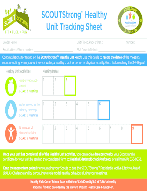 unit tracking sheet form
