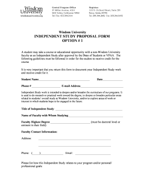 Wisdom University INDEPENDENT STUDY PROPOSAL FORM OPTION 1