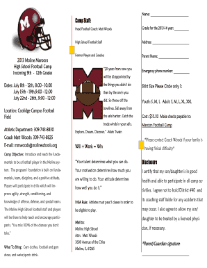 Football Camp Form High School - Moline High Home - mhs molineschools
