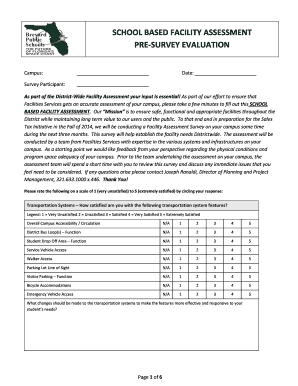 SCHOOL BASED FACILITY ASSESSMENT PRE-SURVEY EVALUATION - capitalprojects brevardschools