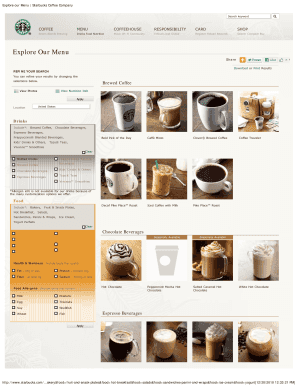 Fillable Online Dfwi Explore Our Menu Starbucks Coffee