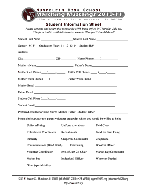 Student Info Sheet High School Edit Fill Out Top Online Forms