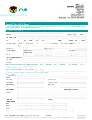 Fnb Mandate Form Fill Online Printable Fillable Blank