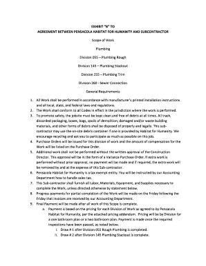 Fillable Online Pensacolahabitat Scope Of Work Plumbing Pensacolahabitat Fax Email Print Pdffiller