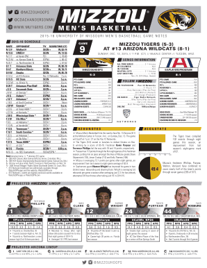 Notes Template b2015b-16indd - Arizona Wildcats