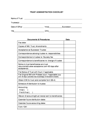 Printable trust administration checklist - Fill Out ...