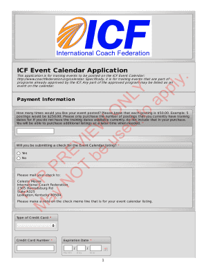 ICF Event Calendar Application FOR PREVIEW