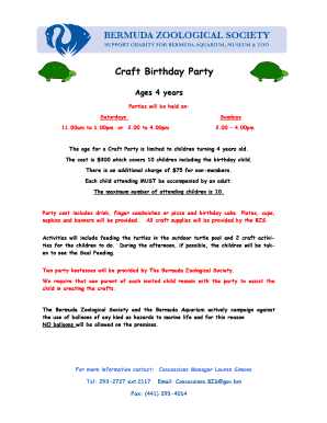 Craft Birthday Party - BZS - bzs