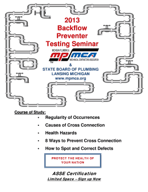 2013 Backflow Preventer Testing Seminar TM &amp