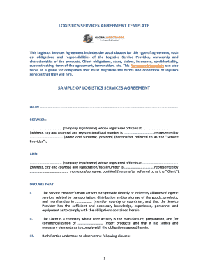 LOGISTICS SERVICES AGREEMENT TEMPLATE