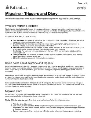 Editable Migraine Diary Pdf
