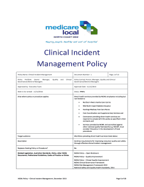 Clinical Incident Management Policy - Healthy North Coast - healthynorthcoast org